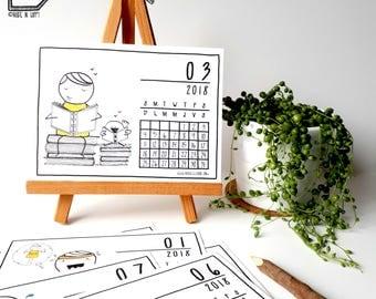 Made in Happy Calendar - 2018 calendar - 2018 desk calendar - 2018 wall calendar - gift calendar - 5x7 calendar - illustrated calendar