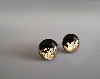 Black Gold Stud Earrings - Hypoallergenic Titanium Steel Post