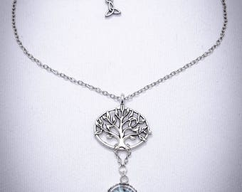 tree of life - blue terrarium necklace - Life tree - daisy - glass dome