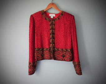 Vintage Red Beaded Silk Jacket Blazer Lawrence Kazar New York Made in India Holiday Cocktail Party Dress Jacket Black Gold Beads Size XL