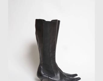 Vintage 90's Black Leather High Heel Boots with Elastic