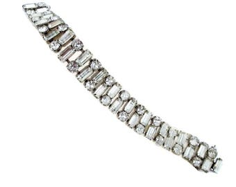 Eisenberg Bracelet Silvertone Baguette Vintage Triple Row Clear Stones Sparkle Bling