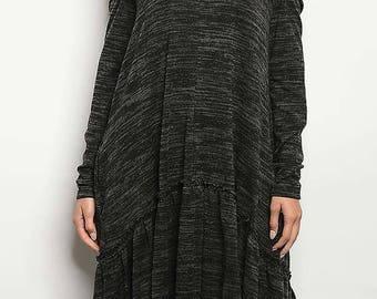 Off Shoulder Midi Dress,Ruffle Bottom Midi Dress,Long Sleeve Midi Dress,Comfortable Midi Dress, Pocketed Midi Dress, Gift for Her,Gift Ideas