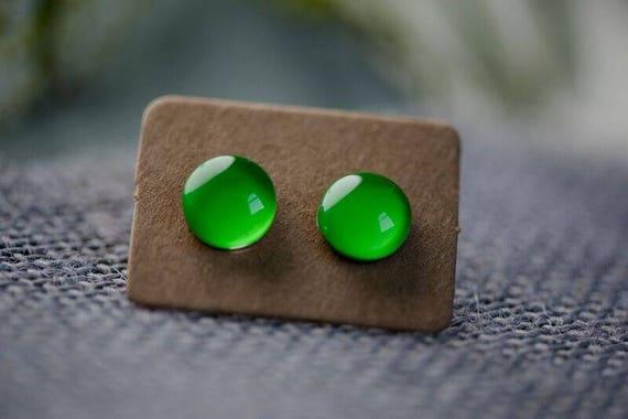 Toffee Apple Green Glass Earrings - Surgical Steel Hypoallergenic Green Studs - Free Postage Sensitive Earrings