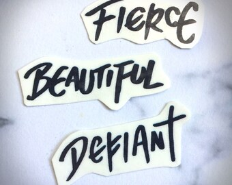 Defiant Beautiful Fierce Temporary Tattoo Script Calligraphy Bold Sharpie Text Black Simple Strong Brave Girls Women Bold Power Grafitti