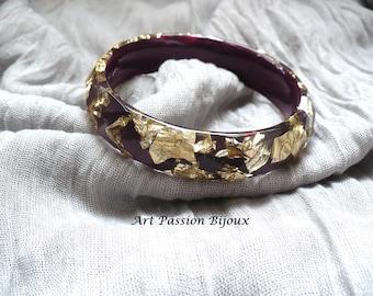 Burgundy and gold bangle, golden metal leaf, resin bangle, gold leaf effect, gold jewelry, greek bracelet, 15% off shipping