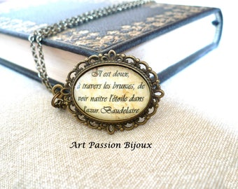 BAUDELAIRE french quote poetry, Fleurs du mal, gift for poet, poem jewelry, space stars quote necklace, gift for reader, -15% off shipping