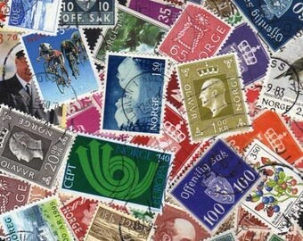 NORWAY Stamps, 50 Diff, Norway Postage Stamps, Norge, Stamp Collection, Norwegian Postage Stamps, Stamps, Scandanavia Postage Stamps, Norge