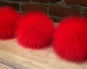 Lipstick Red Pom, Faux Fur Pom Pom, 4 and 5 Inch, Red Pom Pom, Fox Faux Fur, Knit Hat Pom, Winter Hat, Knitting Supply, Faux Fox, Detachable