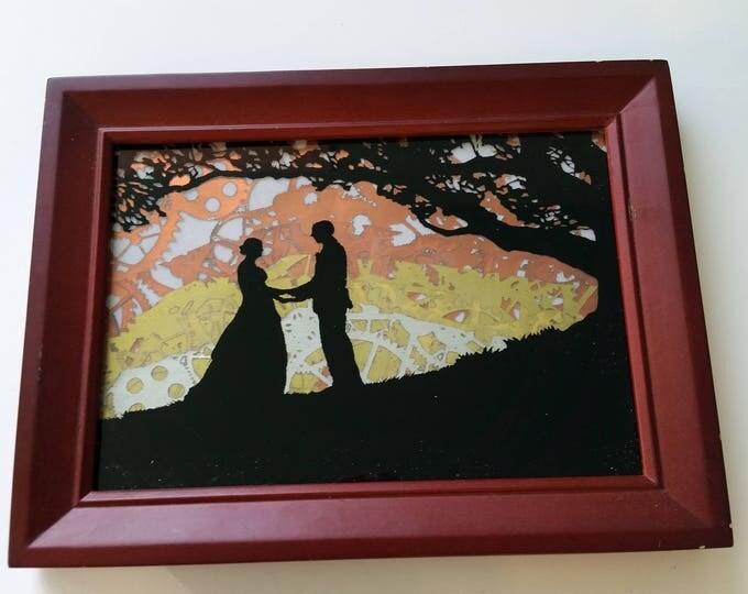 """Framed mixed Media Art : """"Clockwork Courtship?"""""""