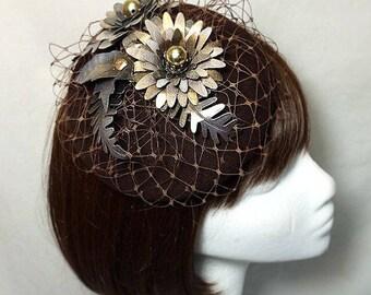 Gold fascinator, brown fascinator mother of the bride, Summer wedding, wedding hat, vintage fascinator