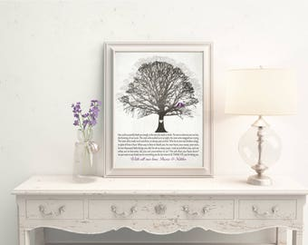 Personalized Wedding Thank You Gift for Parents, Print Canvas Bride and Groom Wedding Gift Parents Poem CUSTOM Tree Birds Rustic Gray Plum