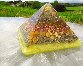 Powerful Orgonite® Orgone Pyramid (Small) - Solar Plexus Chakra - FREE WORLDWIDE SHIPPING!