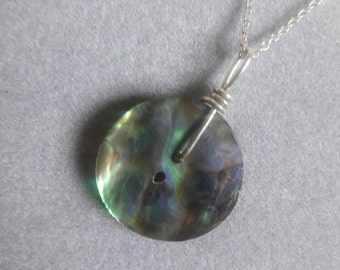 Sterling Silver Wire Wrapped Abalone Paua Shell Button Pendant