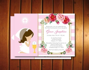Girl First Communion Invitations, First Communion Invitations, Printing Available