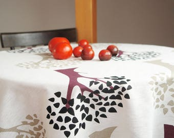 Linen tablecloth Scandinavian tablecloth Scandinavian Fabric Kinnamark Trees tablecloth Housewarming gift