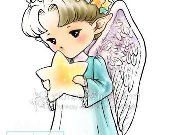 Digital Stamp - Star Angel Sprite - Whimsical Holiday Image - Fantasy Line Art for Cards & Crafts by Mitzi Sato-Wiuff