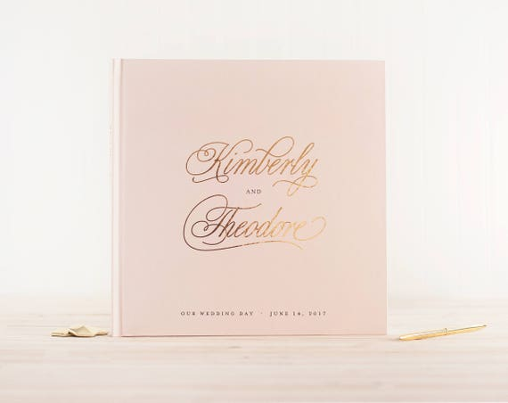Wedding Guest Book Blush and Gold Foil wedding guestbook personalized wedding photo album instant photo booth guest sign in photo guest book