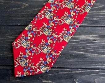 Pure silk mens tie romantic wedding tie ruby red yellow flower ptint floral tie groomsmen necktie fathers day gift for men necties cravate