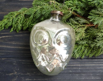 Rare Big Owl Glass Christmas ornaments Pink Christmas Blown Glass Round Bird Bauble Animal Soviet Bulb Christmas Outdoor decorations 1950s