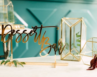 "Dessert Bar Free Standing Table Sign (1x) Laser Cut Acrylic Wedding Sign 16""x9"", Engagement Party Decor, Birthday Party Signage, Treats"
