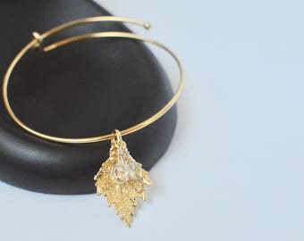 Gold Charm Bangle - Stacking Bracelet - Real Leaf Jewelry - Leaf Charm Bracelet - Woodland Jewelry - Layering Leaf Bangle Bracelet -Mom Gift