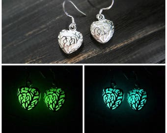 Glow in the dark earrings turquoise earrings green earrings halloween jewelry glowing jewelry mermaid jewelry glowing earring teen girl gift
