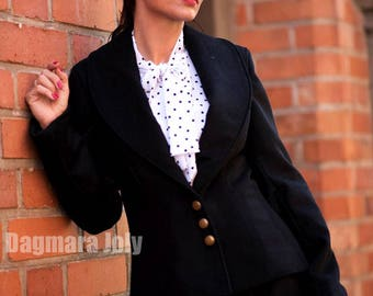 Womens black jacket, black blazer, office wear, suit jacket, shawl collar jacket, business clothing, suit jacket