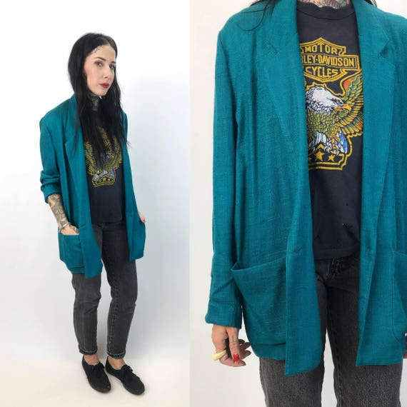 90's Teal Linen Blazer Jacket Small Medium Women- Slouchy Cotton Green Blue Blazer Vintage Fall Jacket - Teal Green Blazer Natural Fibers