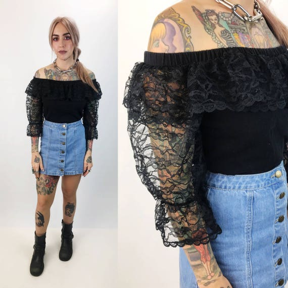 80's Black Lace Off The Shoulder Sheer Sleeves Crop Top Medium/Large - Black Lace Bohemian Goth Crop Top - Black Ruffle Neck Lacey Boho VTG