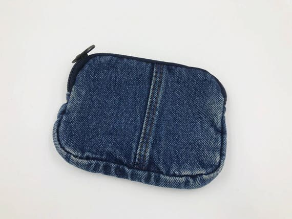 90's Denim Purse Insert Wallet Zipper Pouch Coin Purse - Vintage Denim Pouch Card Holder - Small Denim Wallet Zipper Purse Insert Pouch