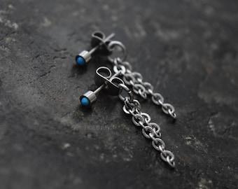 3 or 5mm Blue Opal Bezel Set Stud 316L Surgical Steel Post Piercings Cartilage Lobe Jewelry Earrings
