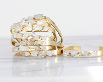 raw quartz cuff | raw druzy bracelet | rough crystal cuff | gemstone cuff | crystal cuff bracelet | raw stone cuff | april birthstone cuff