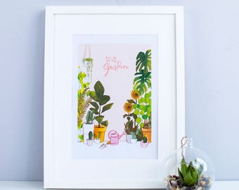 I'll be in the garden (pink) – A4 Illustrated art print