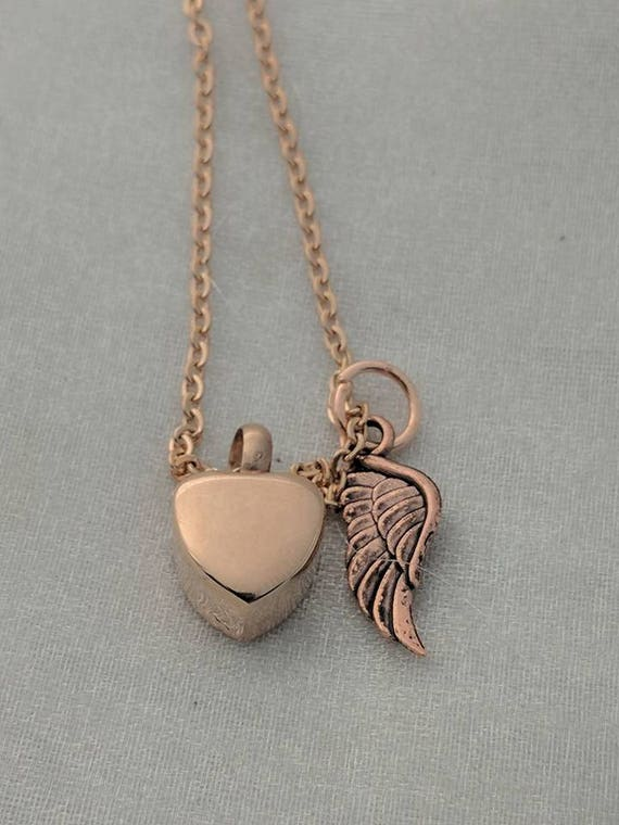Rose Gold Heart Urn Necklace - Urn for Ashes - Cremation Urn Necklace - Heart Urn with Wing - Ashes Necklace - Urn Jewelry -  Sympathy Gift