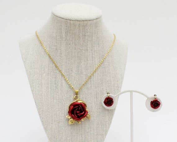 50s Red Rose Necklace and Earrings Set - Vintage 1950s Gold Chain Rose Pendant Necklace and Clip Earrings