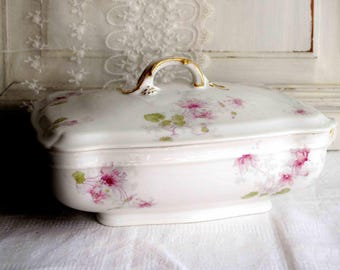 Antique French Limoges porcelain lidded tureen, covered vegetable dish, shabby chic roses center piece