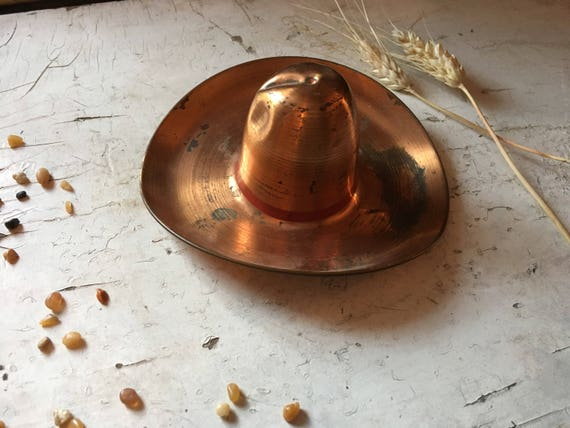 Small Copper Cowboy Hat, Trinket Ring Jewelry Dish, Copper Decor, Southwestern Decor, Copper Ashtray