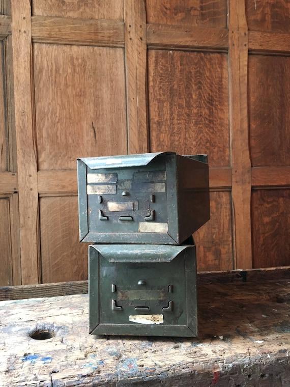 Pair Of Vintage Metal Drawers, Industrial Storage And Organization, Parts Cabinet Drawers