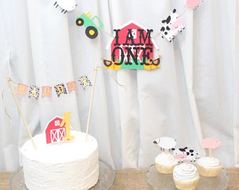 barnyard banner, barnyard birthday, barnyard party banner, barnyard party, farm party, farm birthday, farm banner, I am 1 banner, barnyard