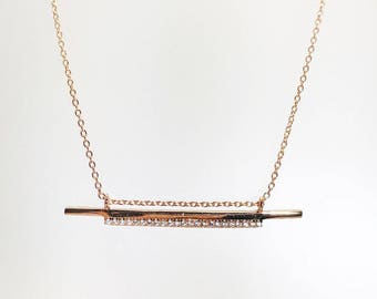 Double Bar Cz Pendant Necklace