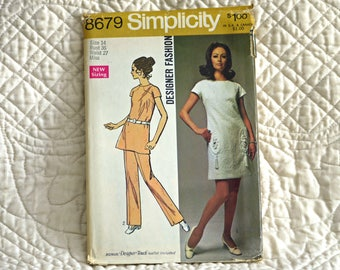 Dress Tunic Pants, M, Simplicity 8679 Pattern, Short Sleeves, Back Zipper, High Round Neck, Leg Edge Notches, Trim, 1970 Uncut, Size 14