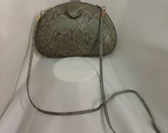 Shop closing Vintage gray handbag reptile skin shoulder bag gray hardcover handbag oval evening bag