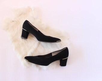 Vintage Black Suede Pumps Gold Toe and Heel Size 7 Chunky Heel High Heels