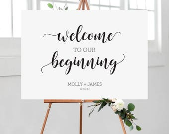 Wedding Welcome sign, Welcome to our beginning,
