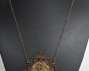 Victorian style Filigree Steampunk Necklace - Upcycled Pocket Watch Gears Chain Pendant Necklace
