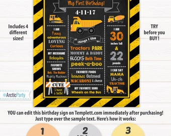 Construction Birthday Sign - Construction Party Sign - Construction Sign - Construction Party Ideas - INSTANT ACCESS - Edit NOW!