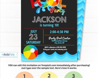 Pool Party Invitation - Swimming Pool Birthday Party - Pool Party - Swimming Birthday - Swimming Party Supplies - INSTANT ACCESS - Edit NOW!