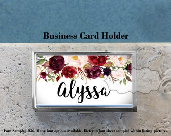 Personalized Business Card Holder,Credit Card Holder,Gift for All,Custom Business Card Case,Metal, Burgundy Floral Watercolor, MB459