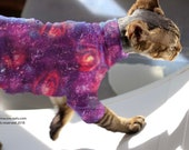 Galacticat in Blue or Purple with Black Sphynx Cat Clothes. Sleeve length/pattern your choice, ReTro Pet™ Clothes for pets.